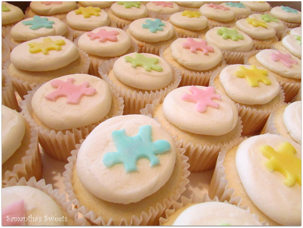 Puzzle Baby Shower Cupcakes