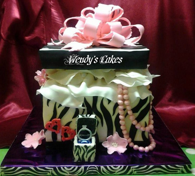 Gift Box Engagement Cake