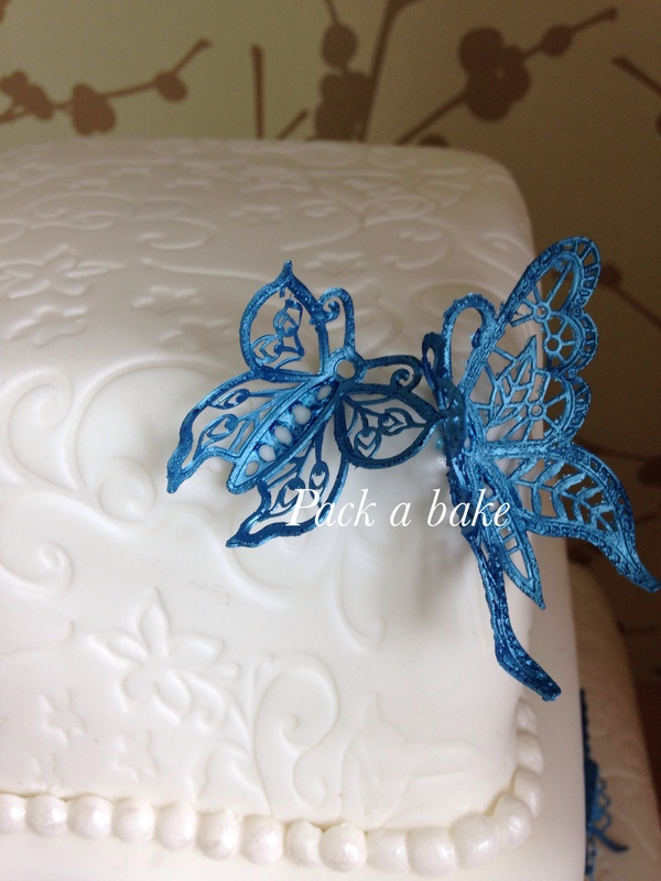 Claire Bowman Lace Butterfly Wedding Cake