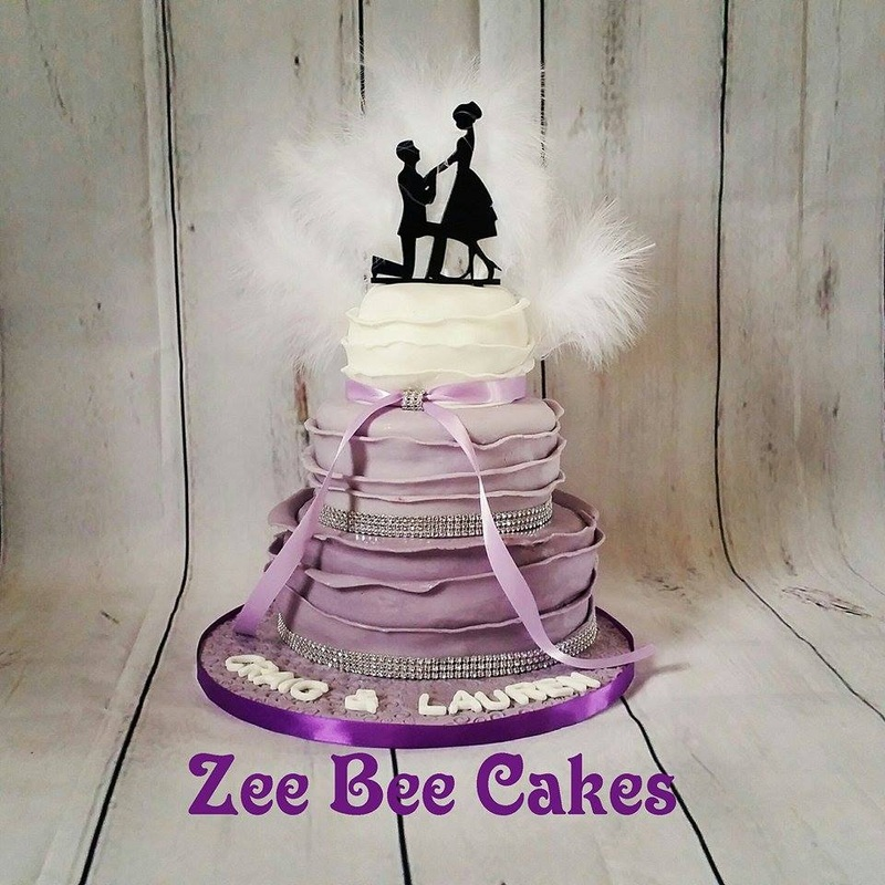 Purple Ombre Engagement Cake
