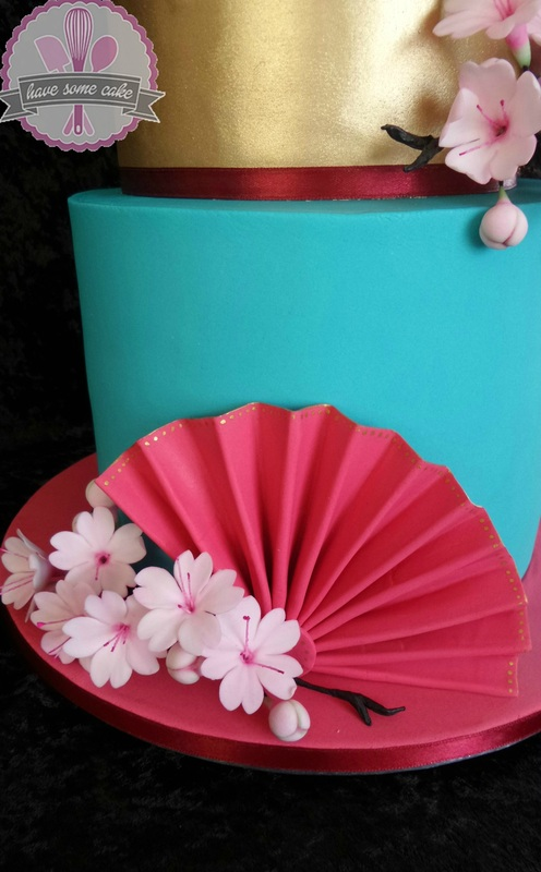 Geisha and Cherry Blossoms  Chinese Theme Birthday Cake