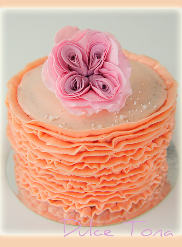 SMBC Pink Ruffle Strawberry Baptism Cake